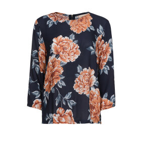 ONE TWO LUXZUZ - NAVY/KORAL BLOMSTRET BLUSE