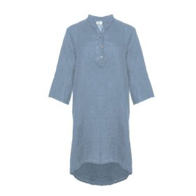 TIFFANY - Long Shirt, Mid Blue, Linen