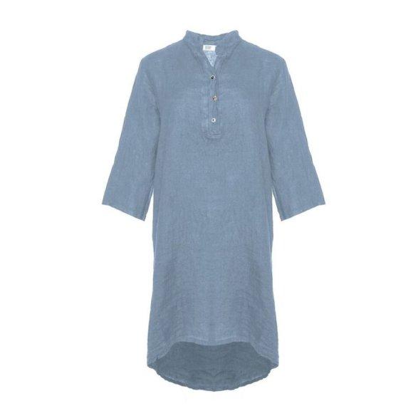 TIFFANY - Long Shirt, Mid Blue, Linen
