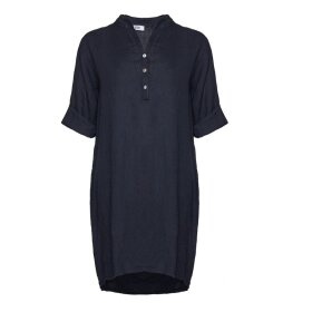 TIFFANY - Long Shirt, Navy, Linen