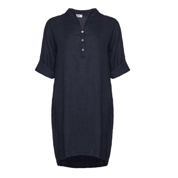 TIFFANY - Long Shirt, Navy, Linen