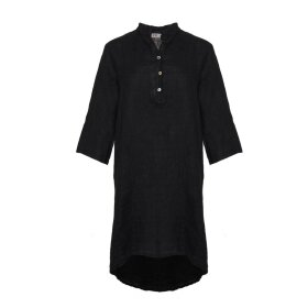 TIFFANY - Long Shirt, Black, Linen
