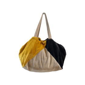 BLACK COLOUR - AMBER VELVET TOTE BAG GREY