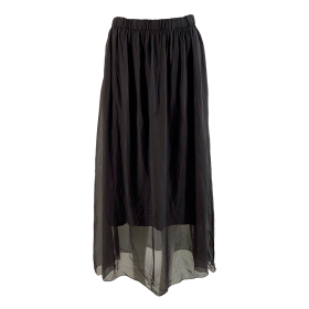 BLACK COLOUR - SORT MAXI SKIRT