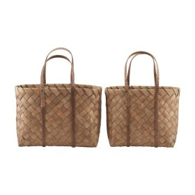 HOUSE DOCTOR - BAG, BEACH, BROWN, SET OF 2