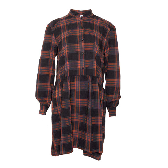 TIFFANY - DRESS ORANGE CHECKED, VISCOSE