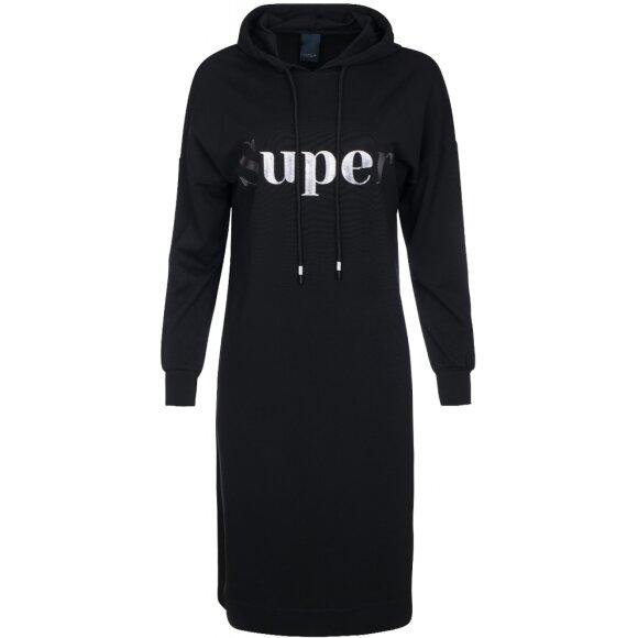 ONE TWO LUXZUZ - BLACK SWEATLA DRESS