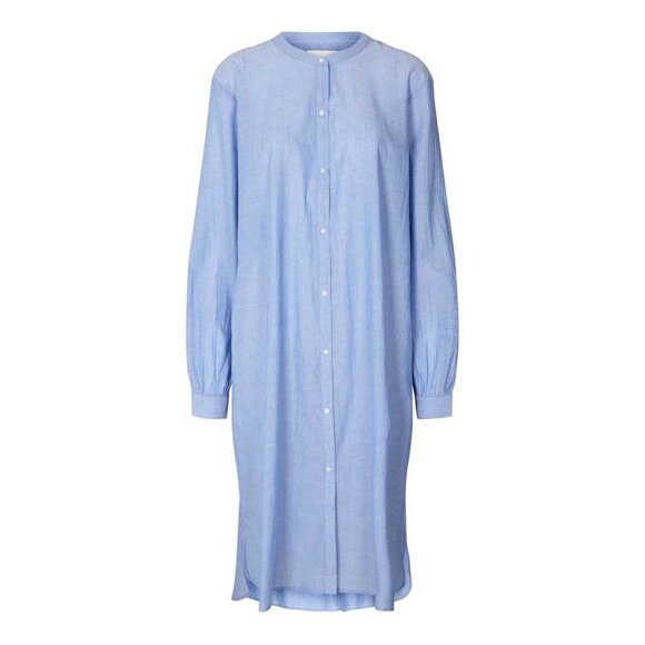 LOLLYS LAUNDRY - BASIC SHIRT DRESS DUSTU BLUE