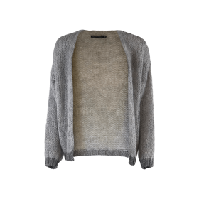 BLACK COLOUR - FELINA CARDIGAN LIGHT GREY