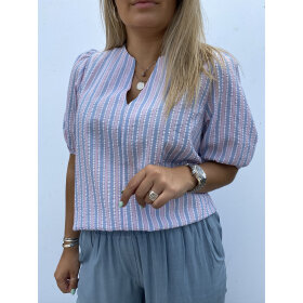 NOELLA - ROSE/BLUE STRIPE WAKKA BLOUSE