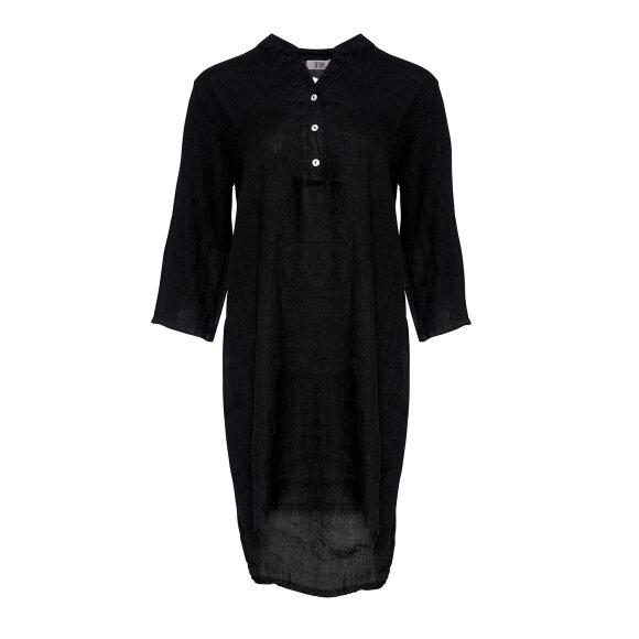TIFFANY - BLACK LONG SHIRT LINEN