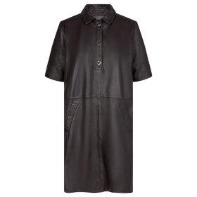 MOS MOSH - MOLE BROWN ESTER LEATHER DRESS