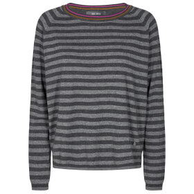 MOS MOSH - DARK GREY MEL WYN STRIPE KNIT