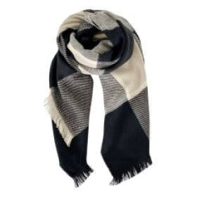 BLACK COLOUR - GREY CHECK SCARF
