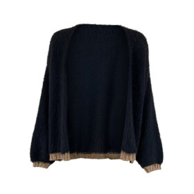 BLACK COLOUR - BLACK NIKA PLAIN CARDIGAN