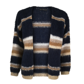 BLACK COLOUR - DARK BLUE/CAMEL TARA KNIT CARD