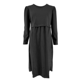 BLACK COLOUR - BLACK SALLY SWEAT/TAFFETA DRES