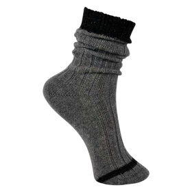 BLACK COLOUR - GREY ASPEN WOOL RIB SOCK