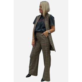 NOELLA - BROWN BROOKLYN CHECKED PANTS