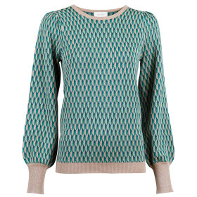 NEO NOIR - GREEN LOLINE GRAPHIC KNIT BLOU