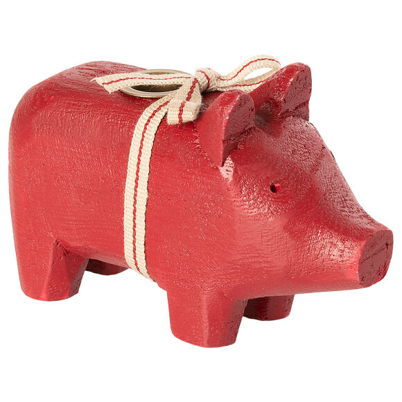 MAILEG - RED WOODEN PIG, SMALL