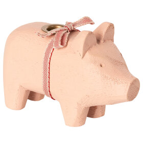 MAILEG - POWDER WOODEN PIG, SMALL