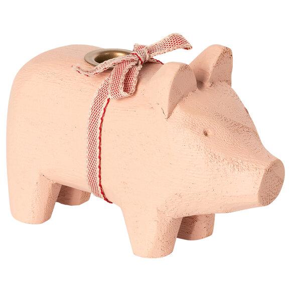 MAILEG - POWDER WOODEN PIG, SMALL
