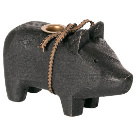 MAILEG - BLACK WOODEN PIG, SMALL