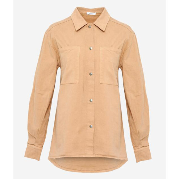NOELLA - CAMEL VAN POCKET SHIRT COTTON