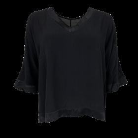 BLACK COLOUR - BLACK BINA V-NECK BLOUSE
